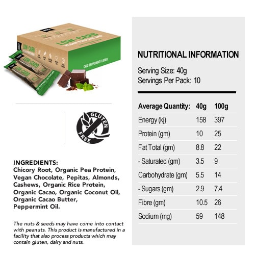 Low-Carb Vegan Protein Bar Nutritional Panel